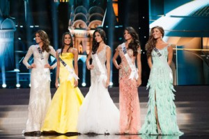 Gabriela Isler, Miss Venezuela 2013; Ariella Arida, Miss Philippines 2013; Patricia Yurena Rodriguez, Miss Spain 2013; Jakelyne Oliveira, Miss Brazil 2013; and Constanza Baez, Miss Ecuador 2013; , are announced as the top five contestants during MISS UNIVERSE® 2013 from Crocus City Hall in Moscow, Russia on November 9, 2013 at 9:00 PM ET on NBC. HO/Miss Universe L.P., LLLP
